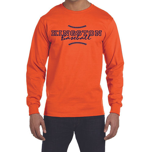 Kingston Baseball long sleeve design 1 orange