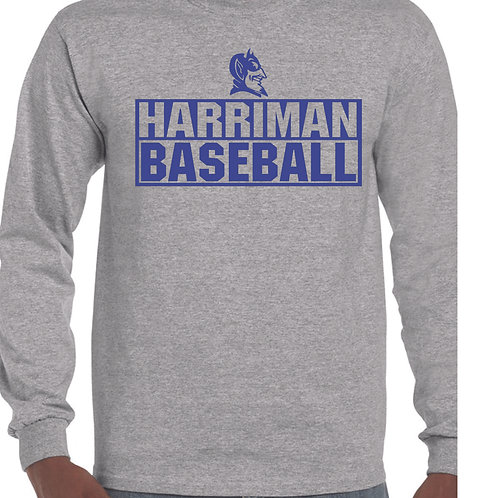 Harriman baseball long sleeve  (design 3 ) -gray