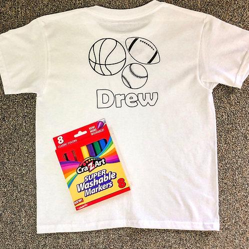 SPORTS Customized T-shirt coloring kit (Shirt & Markers)