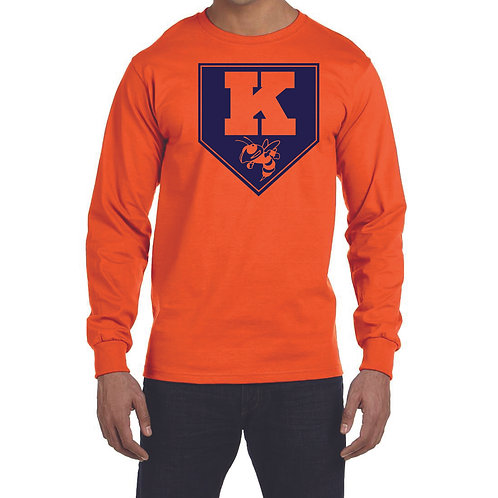 Kingston Baseball long sleeve design 2 orange