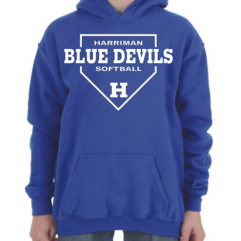 Harriman softball hoodie (design 1) blue