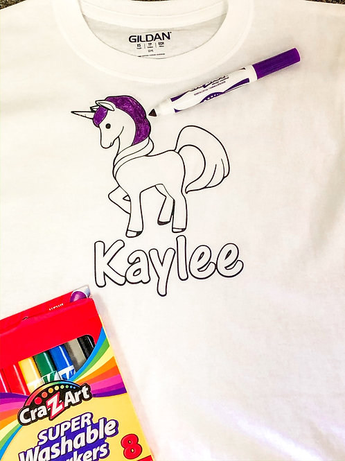 UNICORN Customized T-shirt coloring kit (Shirt & Markers)