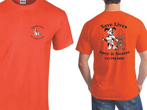 Orange t-shirt Henderson Co. Spay/Neuter Alliance