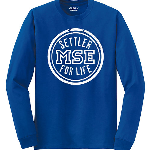 Settler for life long sleeve t-shirt (available in blue, gray, or white)