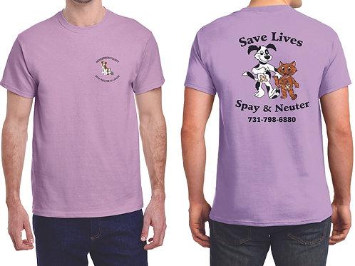 Lilac t-shirt Henderson Co. Spay/Neuter Alliance