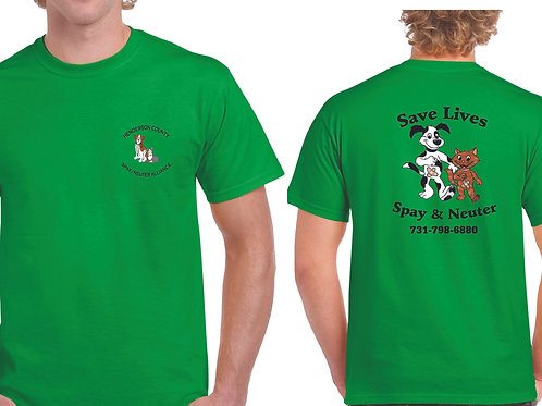 Green t-shirt Henderson Co. Spay/Neuter Alliance