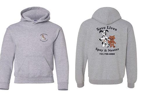 Sport gray pullover hoodie Henderson Co. Spay/Neuter Alliance