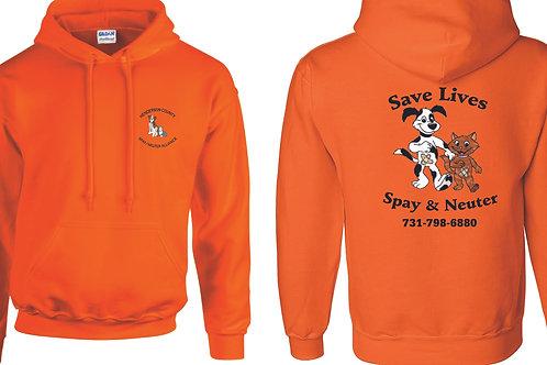 Orange pullover hoodie Henderson Co. Spay/Neuter Alliance