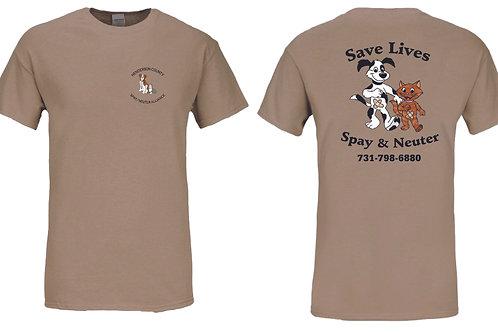 Tan t-shirt Henderson Co. Spay/Neuter Alliance