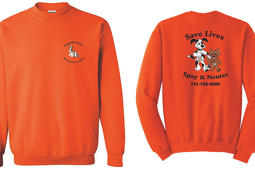 Orange sweatshirt Henderson Co. Spay/Neuter Alliance