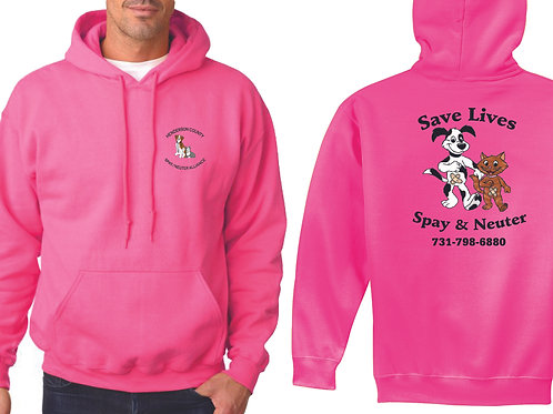 Pink pullover hoodie Henderson Co. Spay/Neuter Alliance