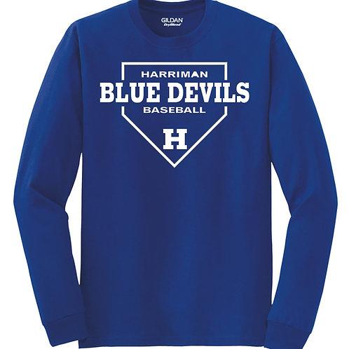Harriman baseball long sleeve  (design 1 ) -blue