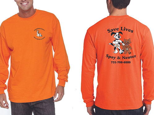 Orange long sleeve Henderson Co. Spay/Neuter Alliance