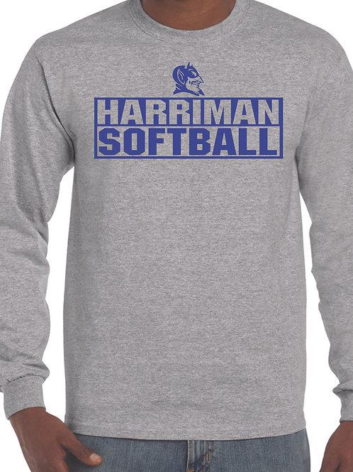 Harriman softball long sleeve  (design 3 ) -gray