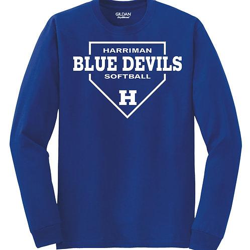 Harriman softball long sleeve  (design 1 ) -blue