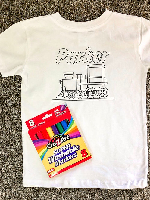 TRAIN Customized T-shirt coloring kit (Shirt & Markers)