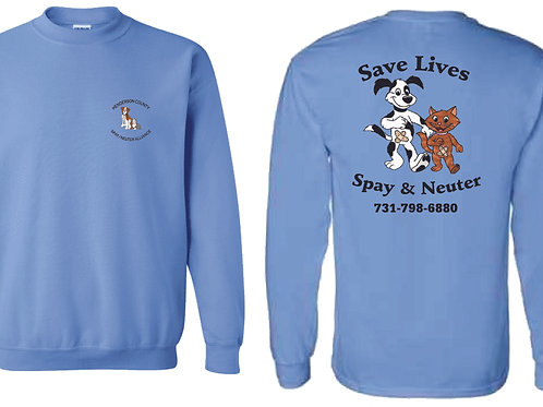 Columbia blue sweatshirt Henderson Co. Spay/Neuter Alliance