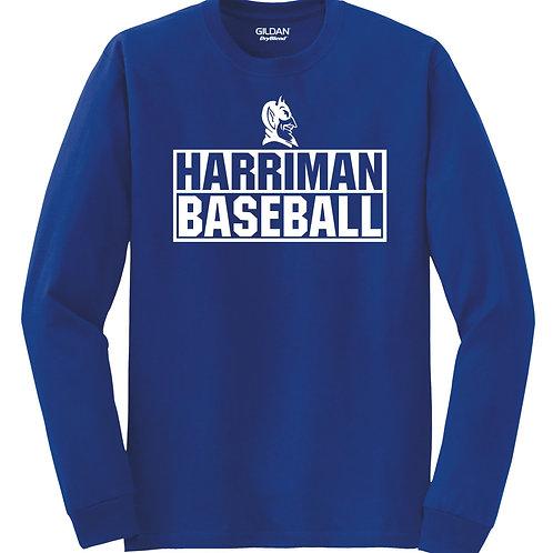Harriman baseball long sleeve  (design 3 ) -blue
