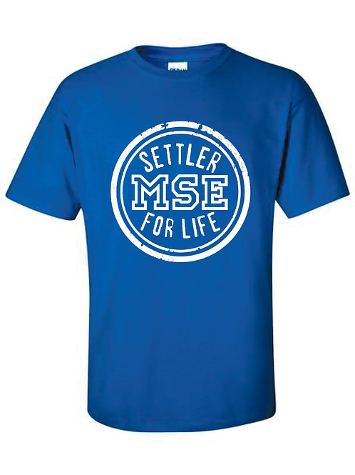 Settler for life short sleeve t-shirt (available in gray or blue)