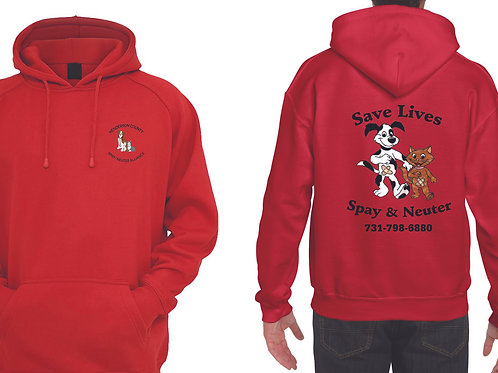 Red pullover hoodie Henderson Co. Spay/Neuter Alliance