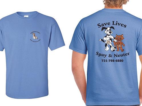 Columbia blue t-shirt Henderson Co. Spay/Neuter Alliance