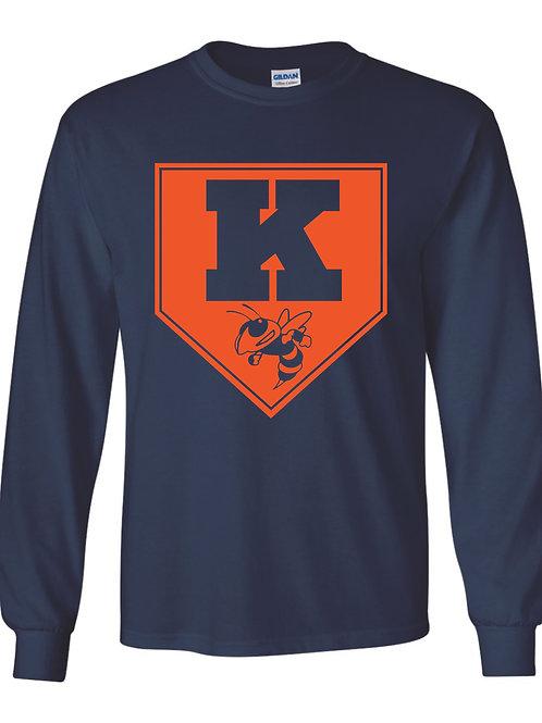 Kingston Baseball long sleeve design 2 Navy