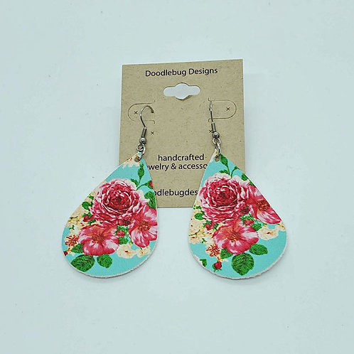 Floral Faux Leather Earrings