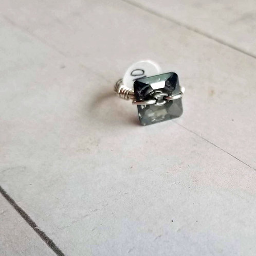 Crystal Satin Wire Wrapped Ring