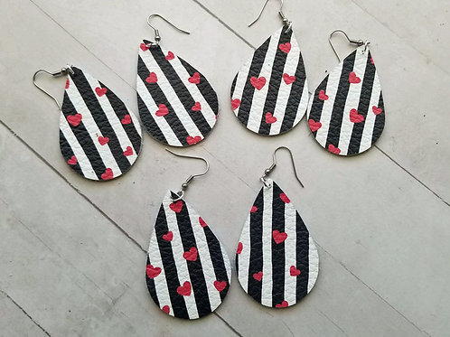 Red Heart & Black Stripe Leather Earrings