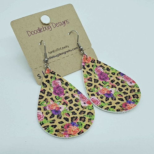 Leopard & Floral Faux Leather Earrings