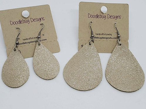 Champagne Leather Earrings