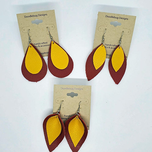 Team Color Leather Earrings-Red & Gold