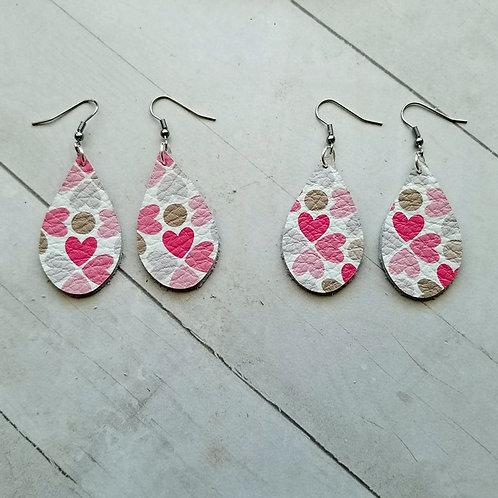 Pink Heart Leather Earrings
