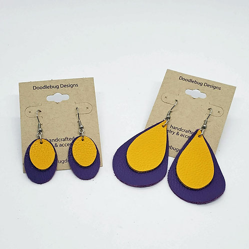 Team Color Leather Earrings-Purple & Gold