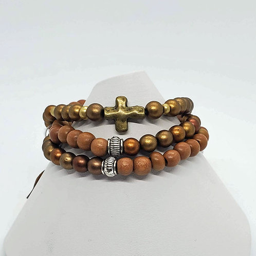 Brown & Bronze Tones Stretch Bracelet