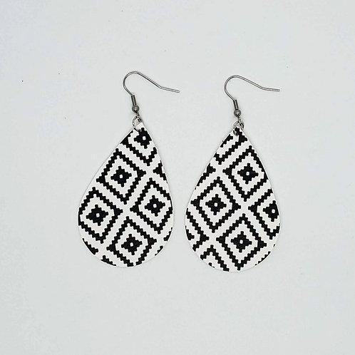 Geometric Print Faux Leather Earrings