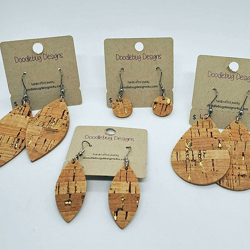 Cork & Gold Leather Earrings