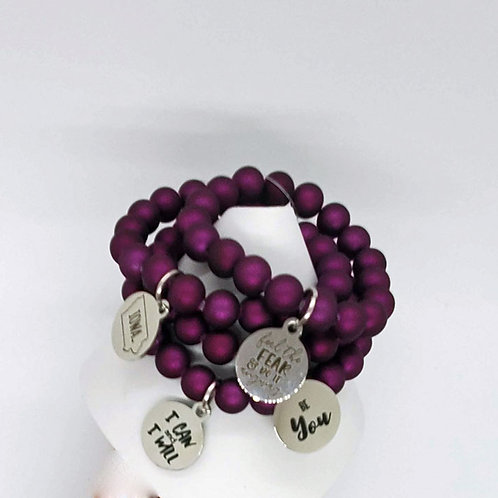 Purple Charm Stretch Bracelet