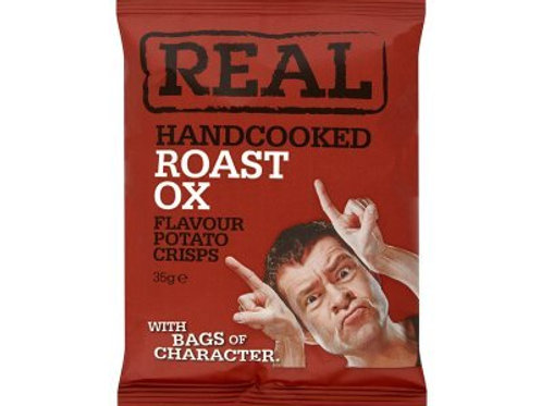 REAL Handcooked Crisps Roast Ox Flavour - 35g x 24 Bags