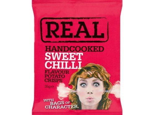 REAL Handcooked Crisps Sweet Chilli Flavour - 35g x 24