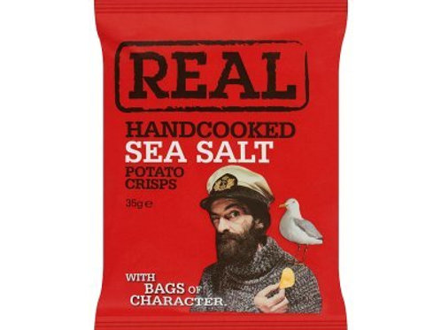 REAL Handcooked Sea Salt Potato Crisps - 35g x 24 Bags