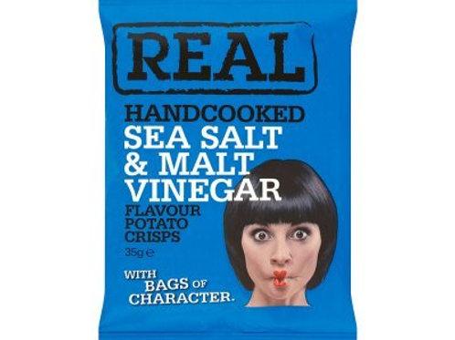 REAL Handcooked Crisps Sea Salt & Malt Vinegar 35g x 24