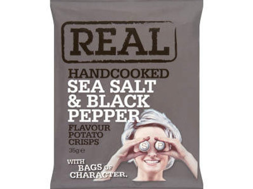 REAL Handcooked Crisps Sea Salt & Black Pepper Flavour - 35g x 24