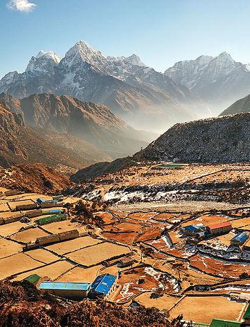 Vista su Thame in Himalaya