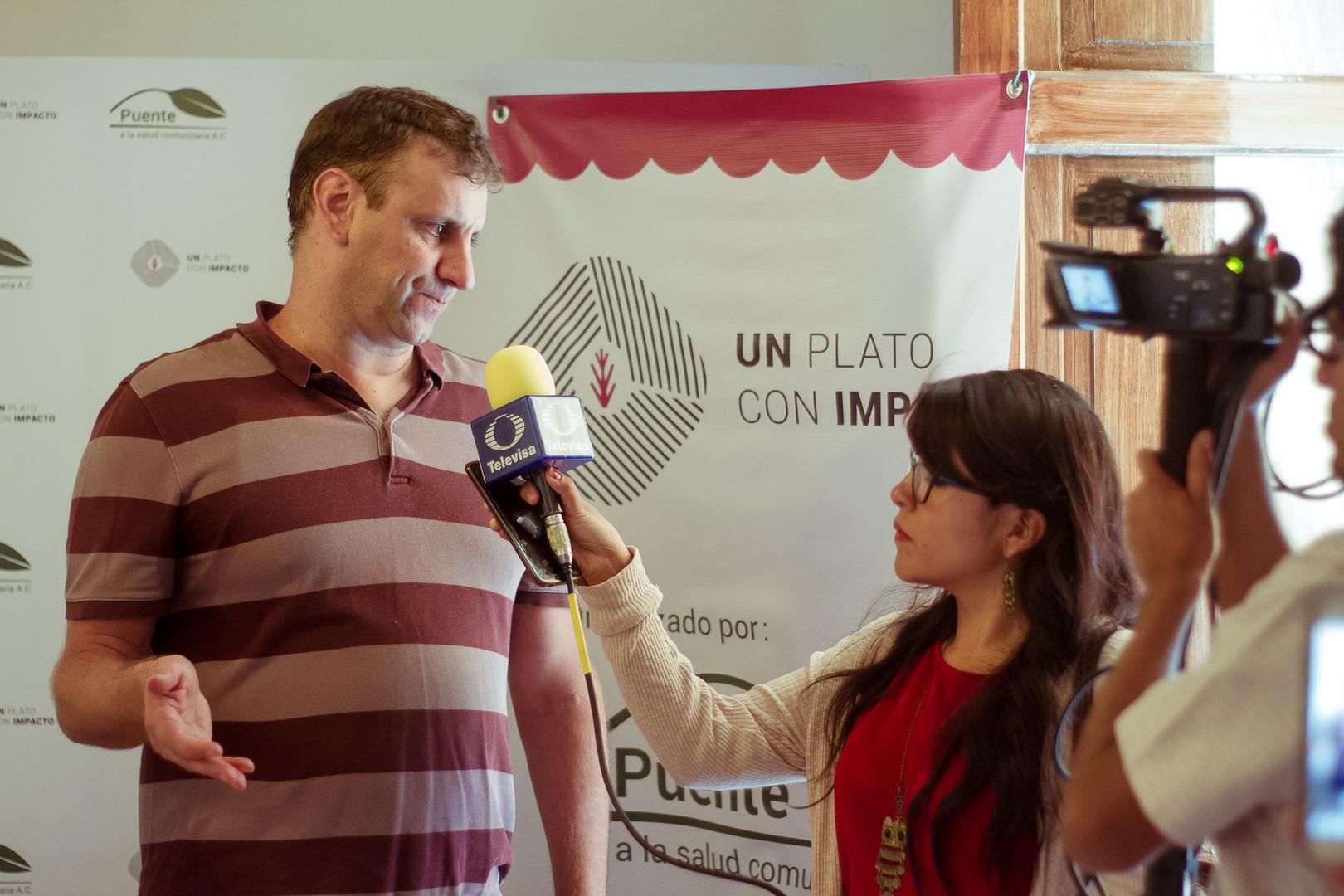 Pete Noll, Director Ejecutivo de Puente en entrevista con Televisa dando los detalles de nuestra campaña Un Plato con Impacto 2019.