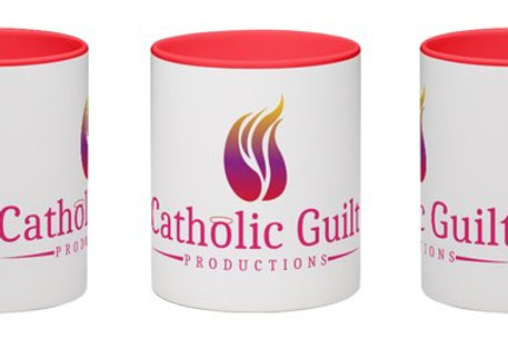 Catholic Guilt Productions Wraparound White Mug with Red Handle and Interior