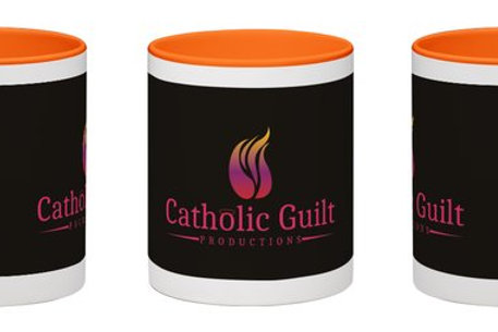Catholic Guilt Wraparound Mug White with Black Catholic Guilt Logo 11 oz