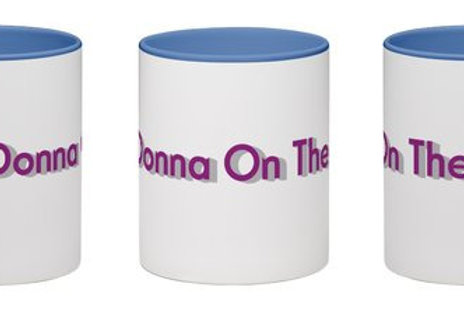 Donna On The Go Wraparound Mug White with Bue Handle and Interior 11 oz