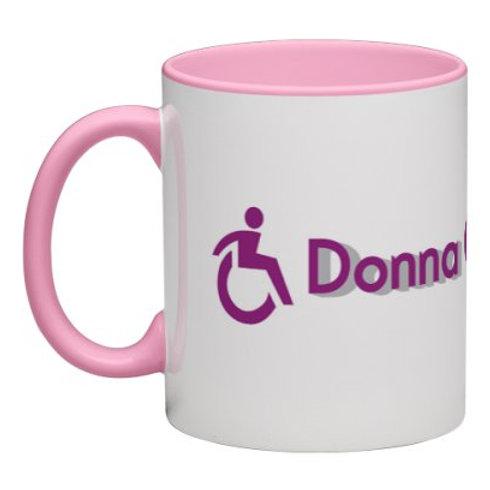 Donna On The Go Wraparound Mug White with Pink Handle and Interior 11 oz