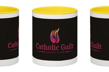 Catholic Guilt Wraparound Mug White with Black Catholic Guilt Logo 11 oz
